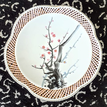 Ucagco cherry blossom basket weave reticulated footed dish - Asian