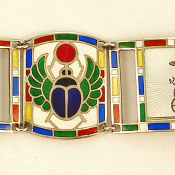 Deco Egyptian Revival Enamel Bracelet - Fine Jewelry