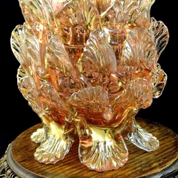 Antique Bohemian Art Glass Floriform Vase with Applied Leaves - Art Glass
