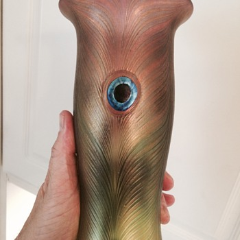 Blown Peacock Feather Glass Vase - Art Glass