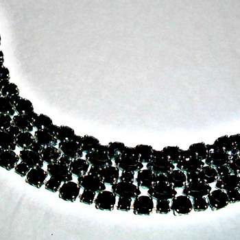 SHERMAN JET BLACK FIVE ROW MARQUISE CRYSTAL BRACELET - Costume Jewelry