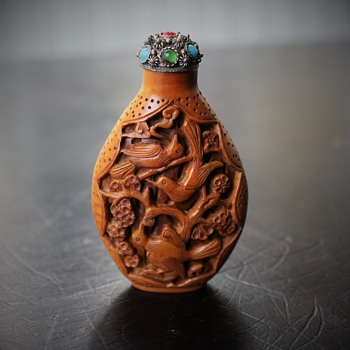 Carved Wood Snuff Bottle - Asian