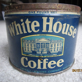 Antique White House Coffee Tin - Advertising