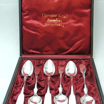 Set 6 Teaspoons by Theodor Kraft Juwelier Heidelberg - 750 K - Silver