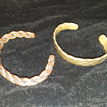 two more men's (I think?) 'cuff' type bracelets, one copper and one brass - Costume Jewelry