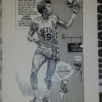 1974 ABA NETS Bruce Stark original art Dr J, Dr K