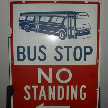 "1960s New York City ""BUS STOP"" sign"