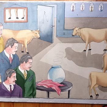 Original watercolor find - Folk Art