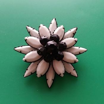 White and Black rhinestone pin - Costume Jewelry