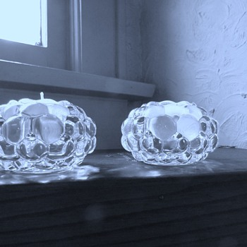 "Orrefors' ""Raspberry""/Hellon Crystal Votives & Kosta Boda ""Snowball"" Votive - Art Glass"