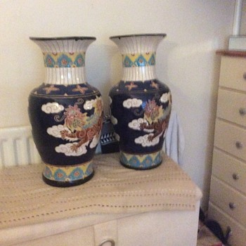 A pair of satsuma style vases  - Asian