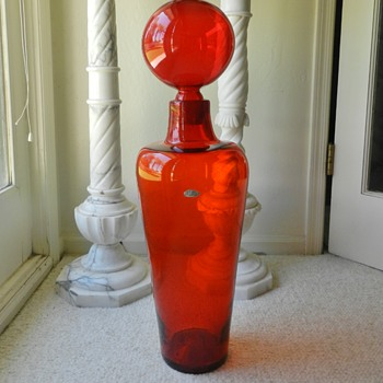 "Huge 30"" Blenko Floor Bottle - Designer? Number? - Art Glass"