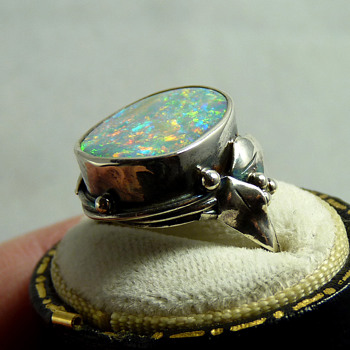 Rhoda Wager (signed) Silver & Boulder Opal Ring - Arts and Crafts
