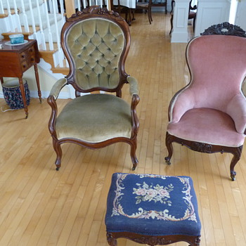 Family antique chairs and foot stool... - Furniture