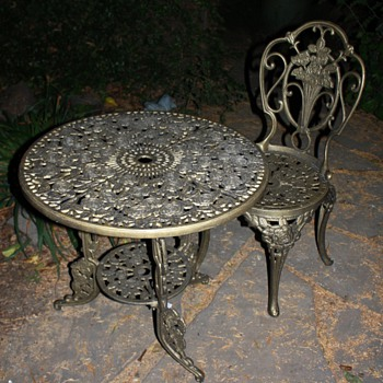 'Brass' table and chair - victorian? or a knock-off? - Victorian Era