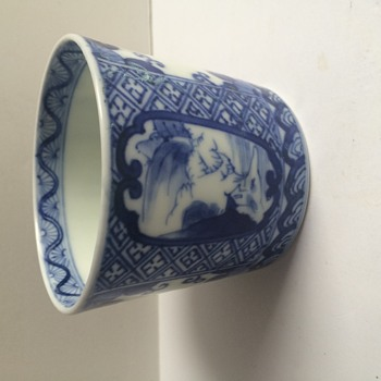 Blue & White Chinese Cup Hand Painted Signed - Asian