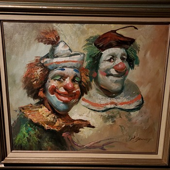 31 x 27 oil on canvas painting of clowns signed p barrett. Picked it up at the goodwill on northeast ohio - Fine Art