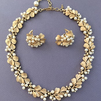 Trifari Pearl Rhinestone Necklace and Earrings - Costume Jewelry