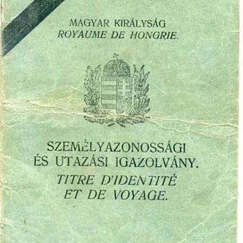 1943 Hungarian stateless travel document/passport - Paper