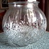 Diamond and Line Pattern Clear Glass Globe Vase / Elaborate Mystery Mark on Bottom