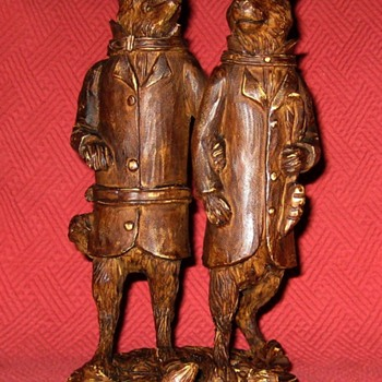 The Fox And The Hare (Black Forest Carving Reproduction) - Animals