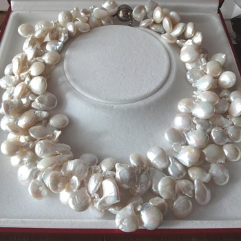 Chinese white/beige Blister pearl Necklace - Fine Jewelry
