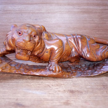 "19"" Carved Wood Bengal or Malayan Tiger"