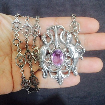 Antique Victorian German Amethyst Pheonix? Bookchain 800 Silver Lavalier Necklace
