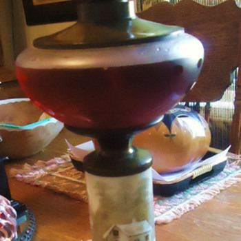 """Grandmothers oil lamp, Mother made electric, now I made Oil last night!  Milk Glass painting """"Cabin in Snow"""" - Lamps"""