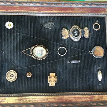 Old shadow box collection of frat pins and a portrait with other keepsakes  - Medals Pins and Badges