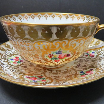 Hand Painted Gilded Cup and Saucer - Brown Westhead and Moore? - China and Dinnerware