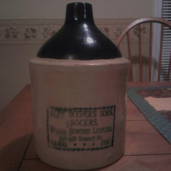 Late 1800s/Early 1900s Alex Weber's Sons Grocers Stoneware Whiskey Jug - Pottery