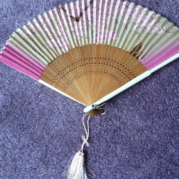 Pink Japanese cherry blossom hand painted wood and cloth hand held fan