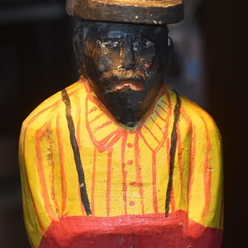 Hunch-backed African American with Skimmer Hat and Striped Shirt - Folk Art