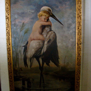 Boy Riding Stork Art