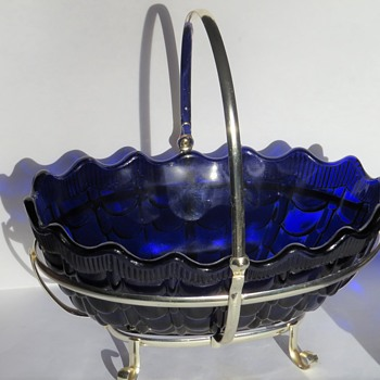 Moulded Cobalt Blue Glass Bowl / Vase Centrepiece - Glassware