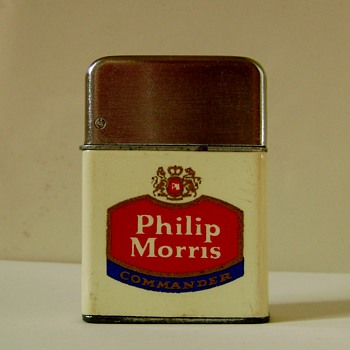 Vintage Philip Morris Commander Cigarette Lighter - Advertising