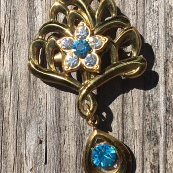 Vintage Brooch with Rhinestone Drop - Costume Jewelry