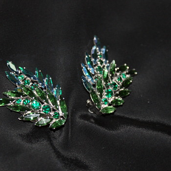 Large Green and Blue Sherman Clip-On Earrings - Costume Jewelry