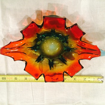 Heavy glass multi colored star-shaped bowl/ashtray