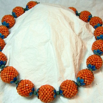 Woven Chinese Coral Bead Necklace  - Fine Jewelry