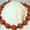 Woven Chinese Coral Bead Necklace