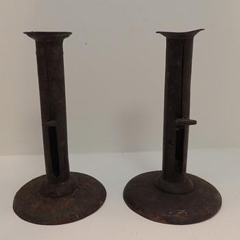 Pair of 19th Century American Hog Scraper Candlesticks