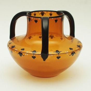 Loetz 3-handle enamels #4 - Art Glass