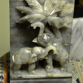 Carved Marble [?] Bookend - Elephants and Palm Trees - Books