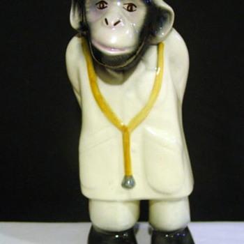 Glazed Pottery Doctor Monkey Statue - Pottery