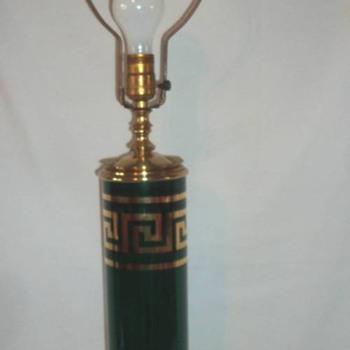 Gold Greek Key Emerald Green Glass - Lamps