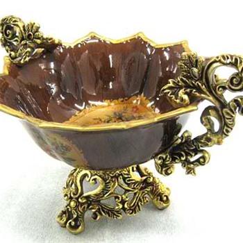 A Beautiful Centerpiece Gold Trimmed  Bowl
