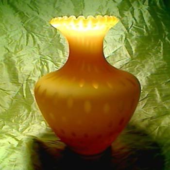 Amber satin vase - Art Glass