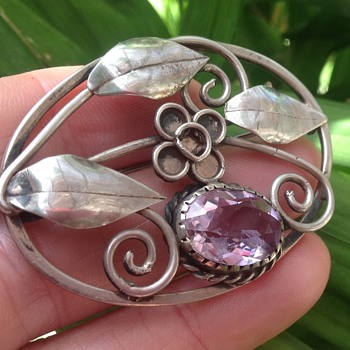 Gladys and Charles Mumford Silver and Amethyst Brooch - Fine Jewelry